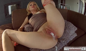 All inward trio with double creampie for golden-haired newbie